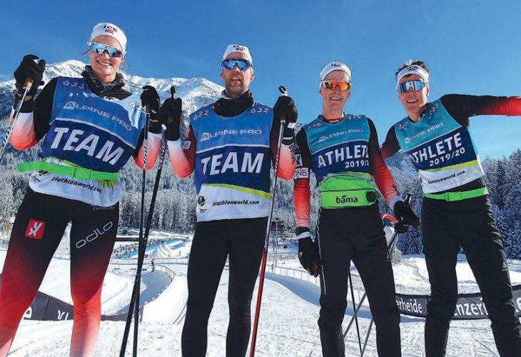 GROR GODT: Det gror godt i norsk skiskyting. Fra venstre: Karoline Birkeland, Halvor Jørstad, Martin Nevland og Morten Ho.